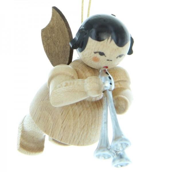 Uhlig Engel schwebend mit Schalmei, natur, handbemalt