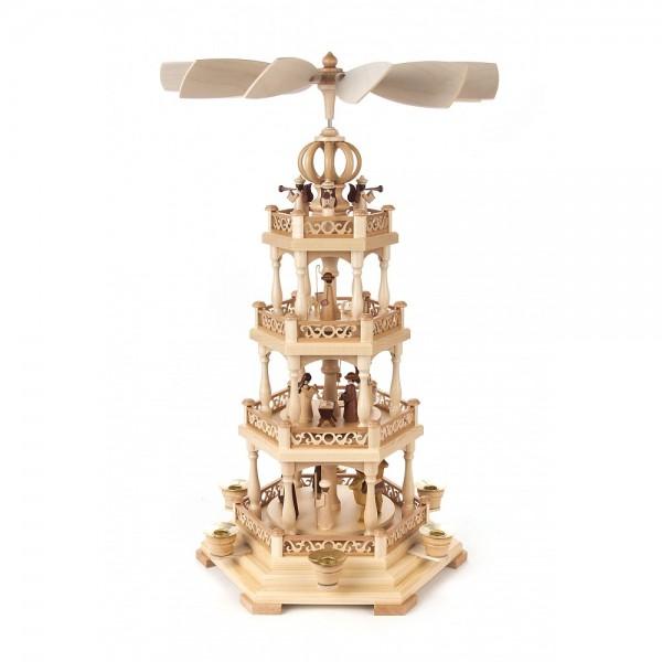 Dregeno Erzgebirge - Pyramide 3-stöckig mit Christi Geburt und Engel - 54cm