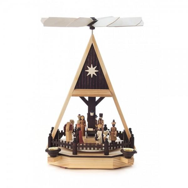 Dregeno Erzgebirge - Pyramide mit Christi Geburt, Figuren natur, für Kerzen - 34cm
