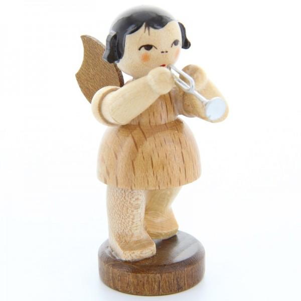 Uhlig Engel stehend mit Piccolotrompete, natur, handbemalt