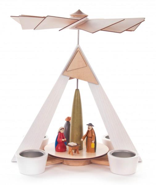 Dregeno Erzgebirge - Pyramide mit Christi Geburt, weiß mit farbig lasierten Figuren, für Teelichte