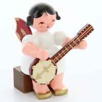 Uhlig Engel sitzend mit Banjo, rote Flügel, handbemalt
