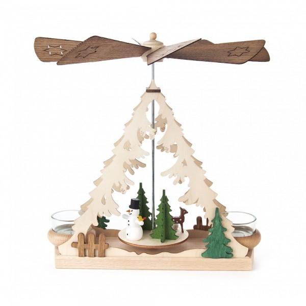 Dregeno Erzgebirge - Tischpyramide mit Schneemann, für Teelichter