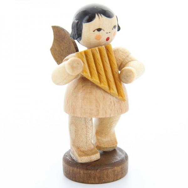 Uhlig Engel stehend mit Panflöte, natur, handbemalt