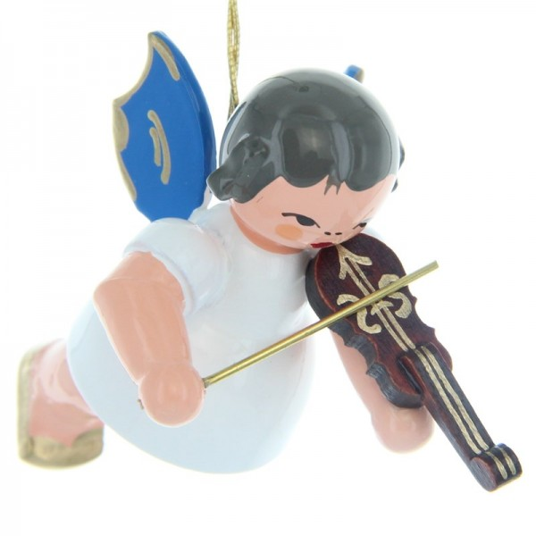 Uhlig Schwebeengel mit Violine, blaue Flügel, handbemalt