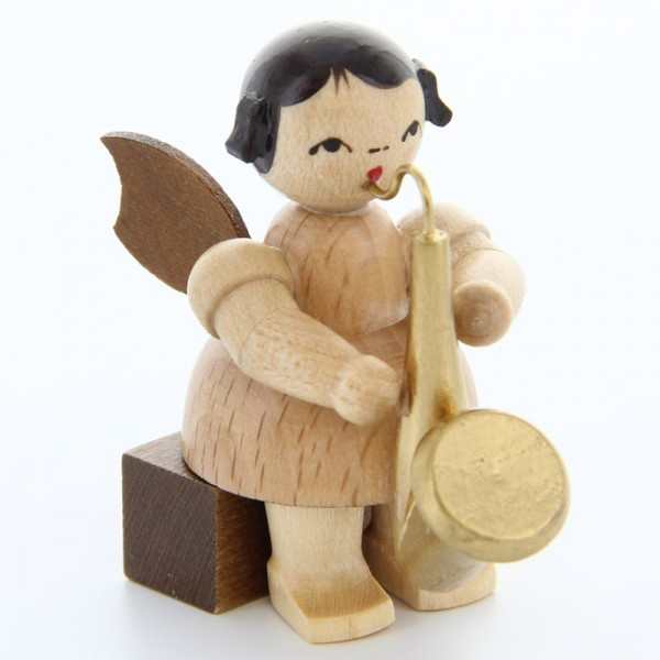 Uhlig Engel sitzend mit Saxophon, natur, handbemalt