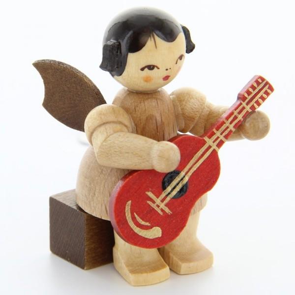 Uhlig Engel sitzend mit Gitarre, natur, handbemalt