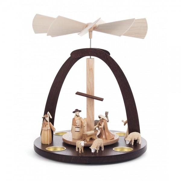 Dregeno Erzgebirge - Pyramide mit Christi Geburt, für Teelichter