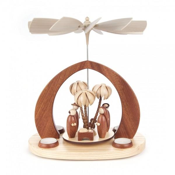 Dregeno Erzgebirge - Bogenpyramide mit Christi Geburt modern, für Teelichte - 30cm