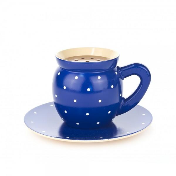 Dregeno Erzgebirge - Dampfende Kaffeetasse, blau - 10cm