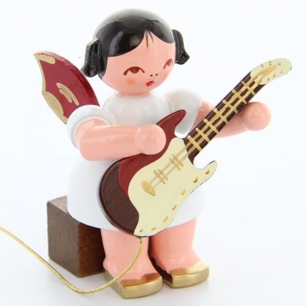 Uhlig Engel sitzend mit E-Gitarre, rote Flügel, handbemalt
