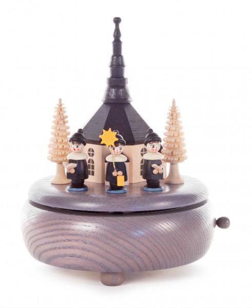 Dregeno Erzgebirge - Spieldose mit Seiffener Kirche und Kurrende grau, Melodie: Süßer die Glocken