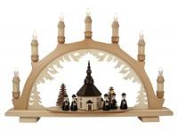 Lenk & Sohn Schwibbogen Erzgebirge 1-fach, 7-flammig Seiffener Kirche mit Kurrende schwarz