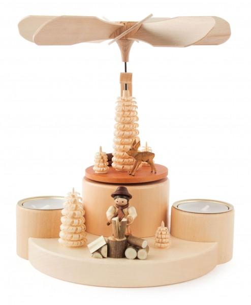 Dregeno Erzgebirge - Pyramide mit Rehen und Holzmacher natur, für Teelichte