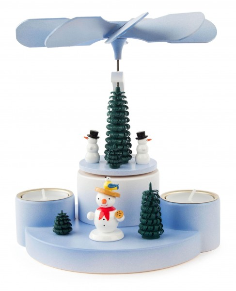 Dregeno Erzgebirge - Pyramide mit Schneemännern, für Teelichte