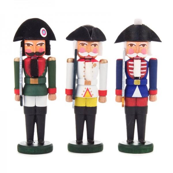 Dregeno Erzgebirge - Miniatur-Nussknacker Franzosen, 3 Figuren