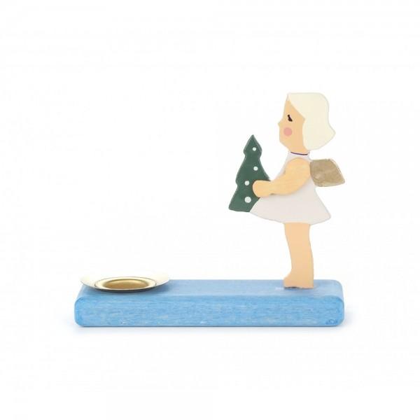 Dregeno Erzgebirge - Kerzenhalter mit Engel, blauer Sockel, sortiert - 7cm
