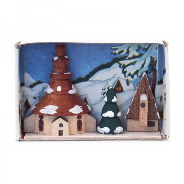 Dregeno Erzgebirge - Miniatur-Zündholzschachtel Kirche im Winter