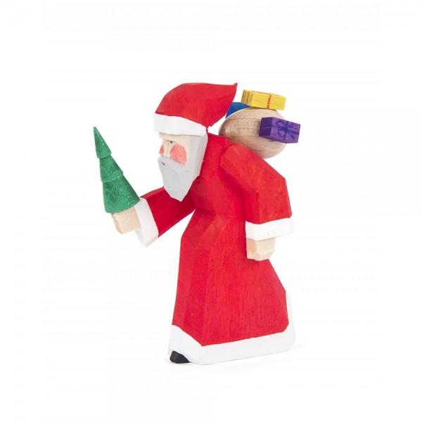 Dregeno Erzgebirge - Schnitzerei - Weihnachtsmann mit Baum - 7,5cm