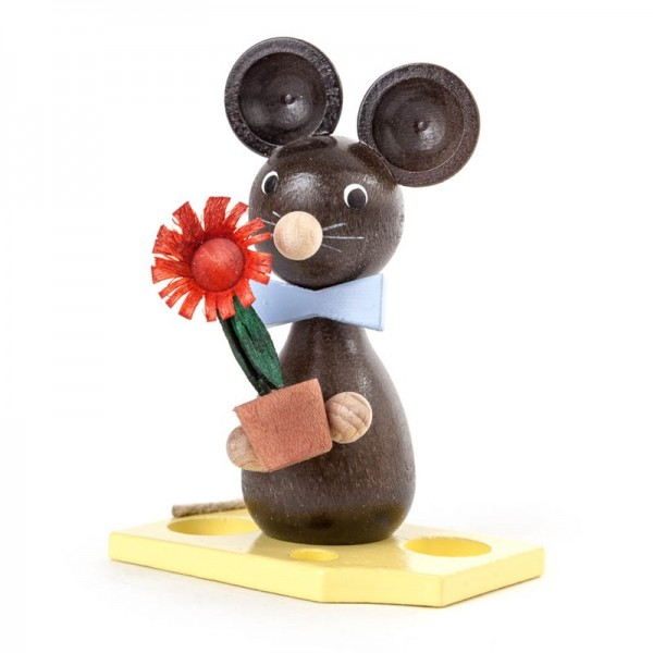 Dregeno Erzgebirge - Miniatur-Maus mit Blumentopf