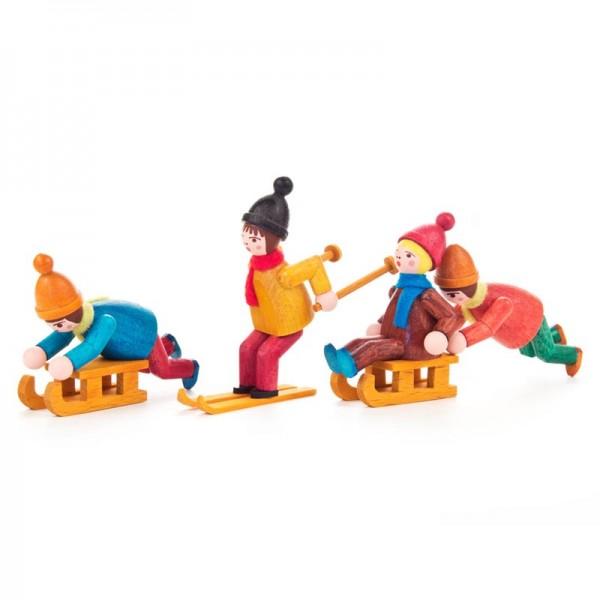 Dregeno Erzgebirge - Miniatur-Wintersportler, farbig lasiert, 4 Figuren