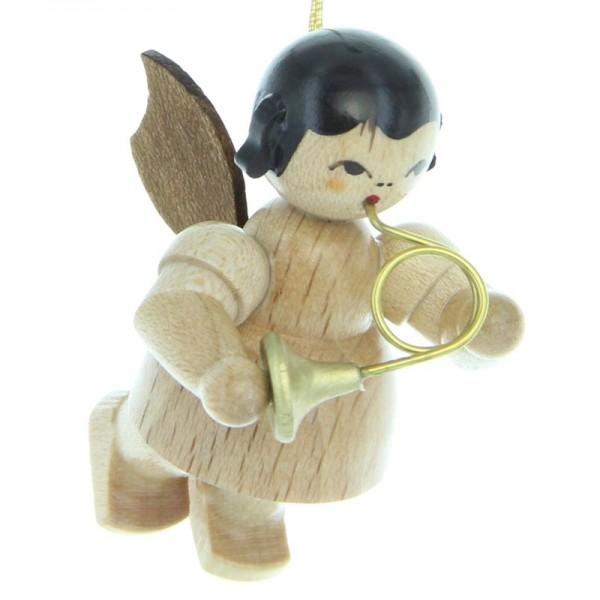 Uhlig Engel schwebend mit Waldhorn , natur, handbemalt
