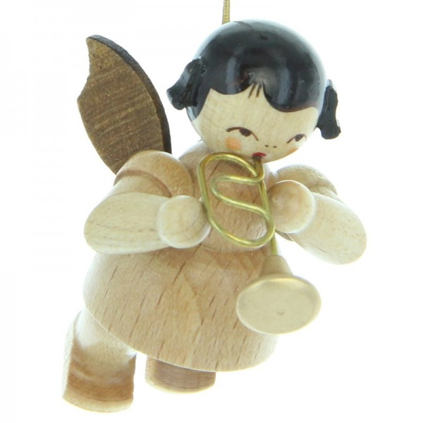 Uhlig Engel schwebend mit Flügelhorn, natur, handbemalt