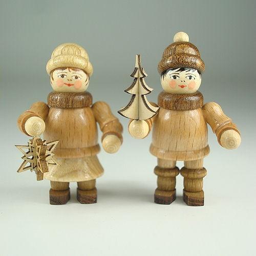 Lenk & Sohn Gedrechselte Holzfigur Erzgebirge Weihnachtskinder Stern- und Baumträger