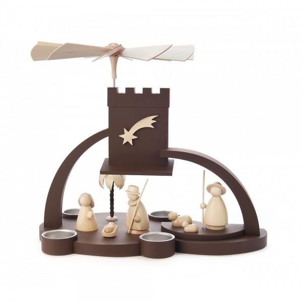 Dregeno Erzgebirge - Pyramide Christi Geburt, ohne Laufscheibe, braun/natur, für Teelichter