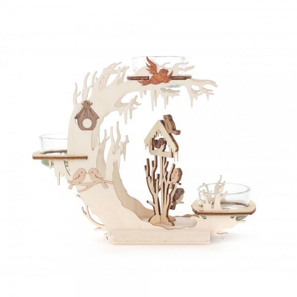 Dregeno Erzgebirge - Teelichtkranz 15cm - Motiv Vogelhaus