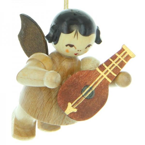 Uhlig Engel schwebend mit Mandoline , natur, handbemalt