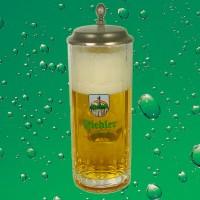 Fiedler Bierglas - Seidel mit Zinndeckel - 0,5l