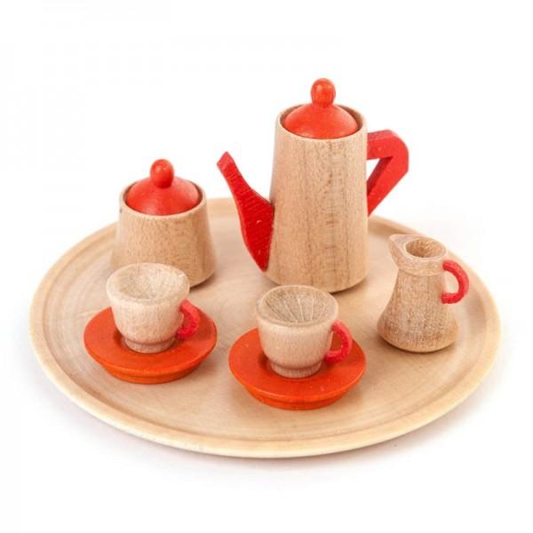 Dregeno Erzgebirge - Miniatur-Geschirrsets für Puppenstube Kaffeeservice rund, 10-teilig