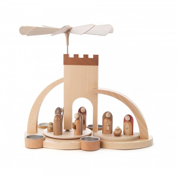 Dregeno Erzgebirge - Pyramide Torbogen natur mit Christi Geburt, moderne Figuren - 33cm