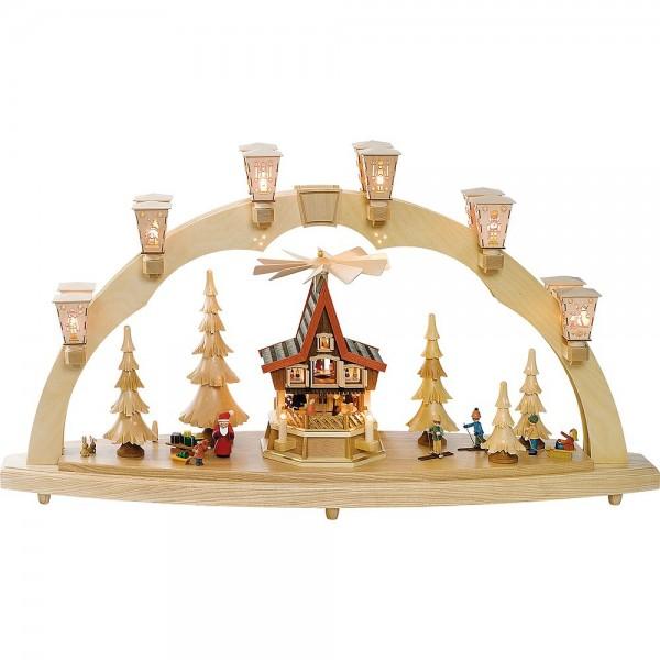Richard Glässer Schwibbogen Weihnachtswald mit Adventshaus