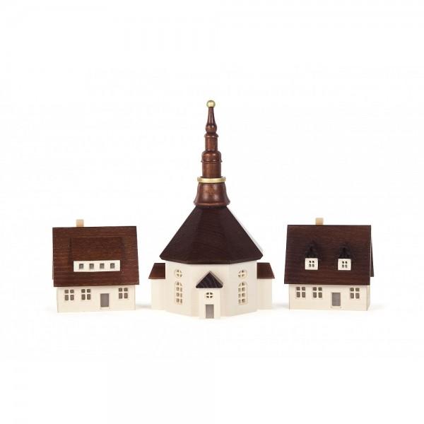 Dregeno Erzgebirge - Seiffener Kirche und 2 Häuser, mittel, von innen beleuchtbar(ohne Leuchtmittel)