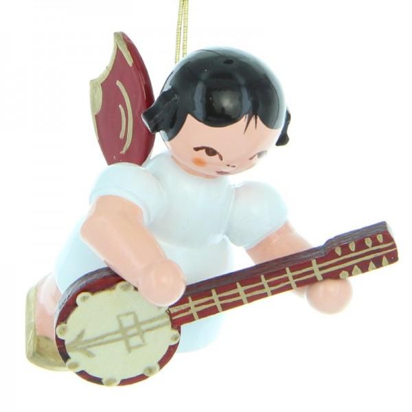 Uhlig Engel schwebend mit Banjo, rote Flügel, handbemalt