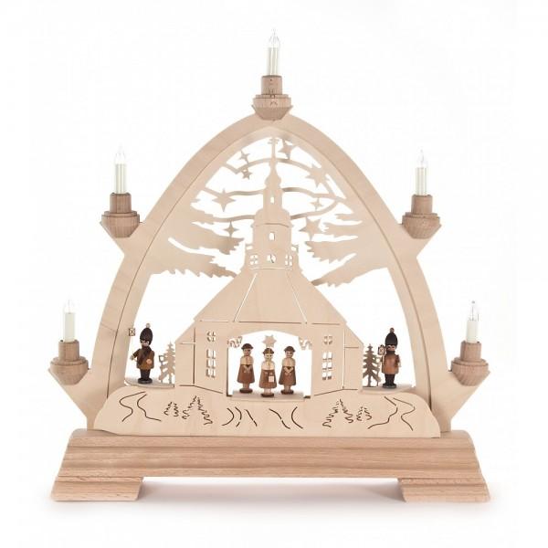 Dregeno Erzgebirge - Gotischer Bogen mit Seiffener Kirche und Kinder - elektrisch beleuchtet