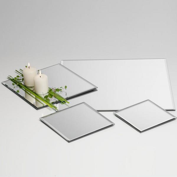 Restposten - Glas Mirror square plate silver 15 x 15 x 1 cm