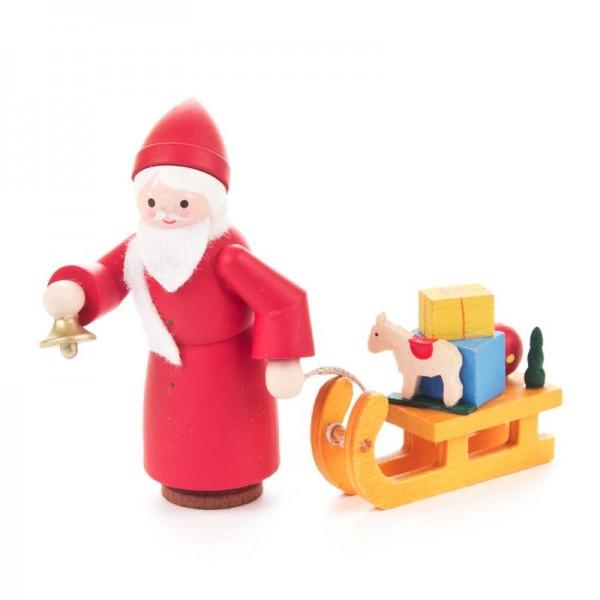 Dregeno Erzgebirge - Miniatur-Nikolaus mit Schlitten, farbig