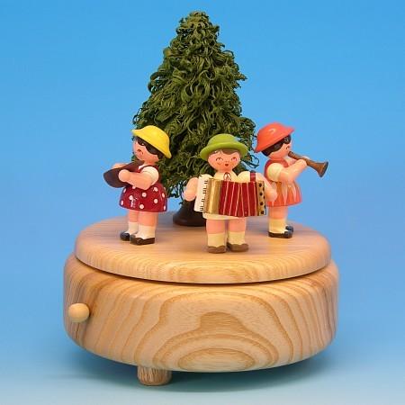 Andre Uhlig Spieluhr natur mit 3 Instrumentenkinder