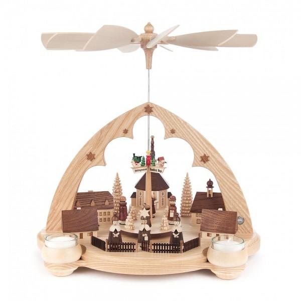 Dregeno Erzgebirge - Spitzbogen-Pyramide Seiffener Dorf, für Teelichter - 35cm