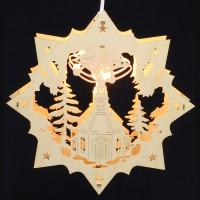 Fensterbild Erzgebirge beleuchtet - Motiv Seiffener Kirche - 27cm