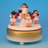 Andre Uhlig Spieluhr rot/weiß mit 5 Engel