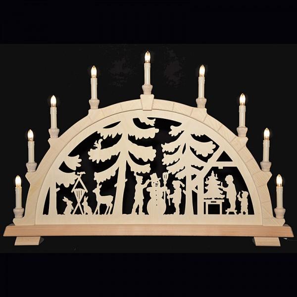 Holzkunst Niederle - Großer Schwibbogen mit geschnitzten Bogen - Motiv Bescherung