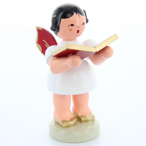 Uhlig Engel groß stehend mit Buch, rote Flügel, handbemalt