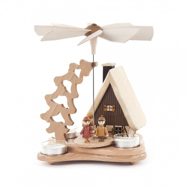 Dregeno Erzgebirge - Pyramide mit Räucherhaus, für Teelichter - 23cm