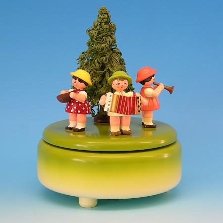 Andre Uhlig Spieluhr grün mit 3 Instrumentenkinder