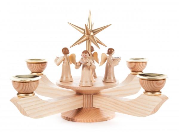 Dregeno Erzgebirge - * Adventsleuchter mit Stern und stehenden Engeln natur groß, für Kerzen Ø 20mm