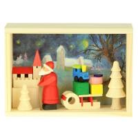 Graupner Holzminiaturen - Glückwunschkästel Weihnachtsmann mit Schlitten